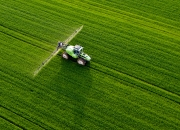 Spraying - modern tractor ... thanks EU :)