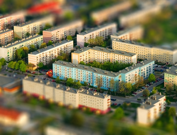 Housing estate - Lezajsk (aerialphoto, Tilt-Shift)