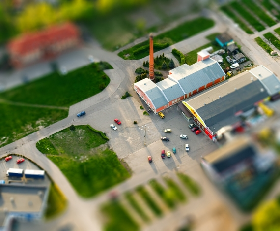 Shopping center - Lezajsk (aerialphoto, Tilt-Shift)