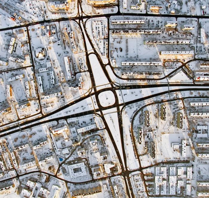 Traffic circle in Stalowa Wola city (Aerial photography)