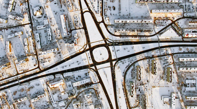 Traffic circle in Stalowa Wola city Aerial photography