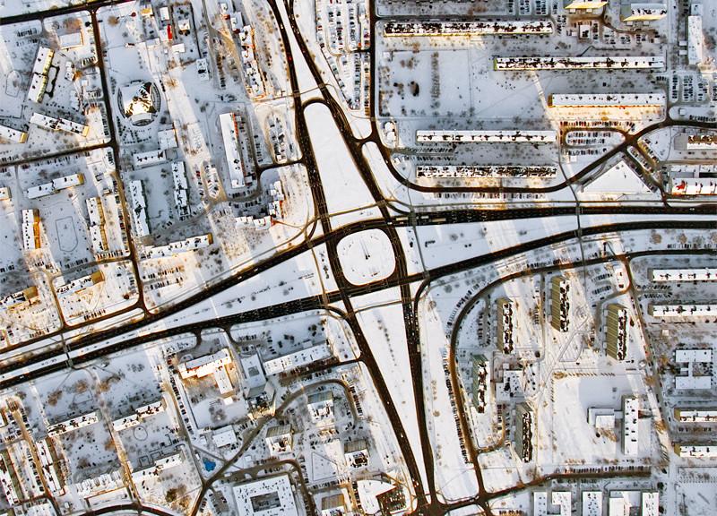 Traffic circle in Stalowa Wola city Aerial photography